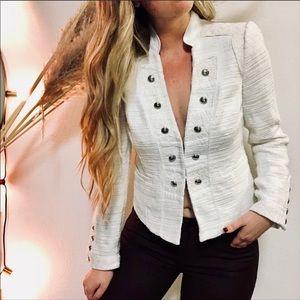 WHBM White Textured Marching Band Jacket Blazer 8